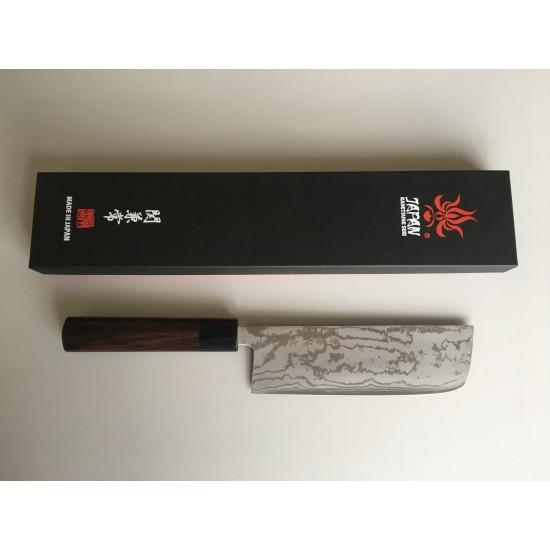Kanetsune Blue Steel No.2 Damascus Nakiri Japanese Knife 165mm with Shitan Handle