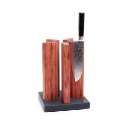 KAI STH 1, KNIFE BLOCK STONEHENGE, GRANITE/REDWOOD FOR 10 KNIVES, 21/ 21/ 30.5 CM L/W/H